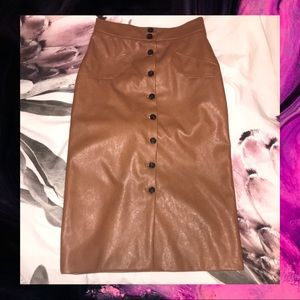 H&M Faux Leather Midi Skirt
